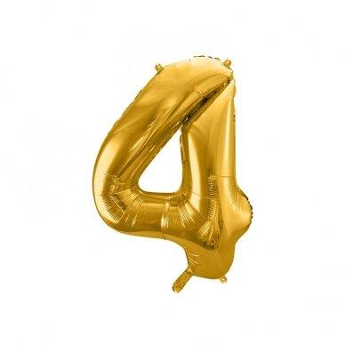 "Folinis balionas  ""4"" auksinis, 86 cm"