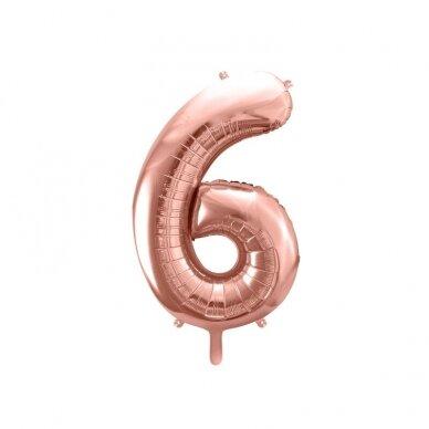 """Folinis balionas """"6"""" rožinio aukso, 86 cm"""