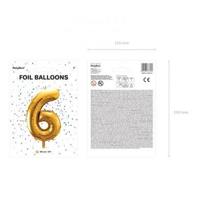 "Folinis balionas  ""6"" auksinis, 86 cm 3"