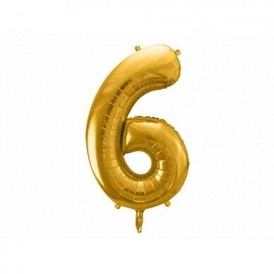 "Folinis balionas  ""6"" auksinis, 86 cm"
