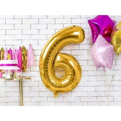 "Folinis balionas  ""6"" auksinis, 86 cm 2"