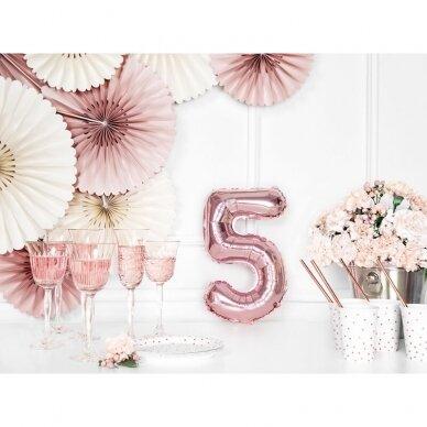 """Folinis balionas """"5"""" rožinio aukso, 86 cm 3"""