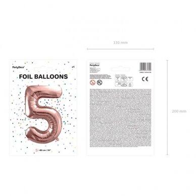 """Folinis balionas """"5"""" rožinio aukso, 86 cm 4"""