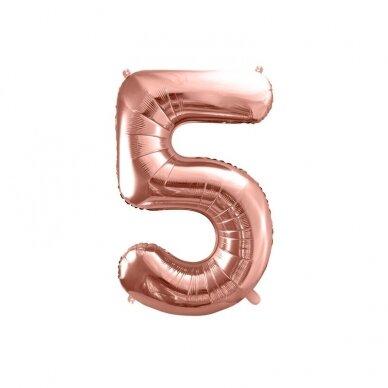 """Folinis balionas """"5"""" rožinio aukso, 86 cm"""