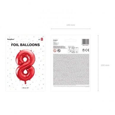"""Folinis balionas """"8"""" raudonas, 86 cm 3"""