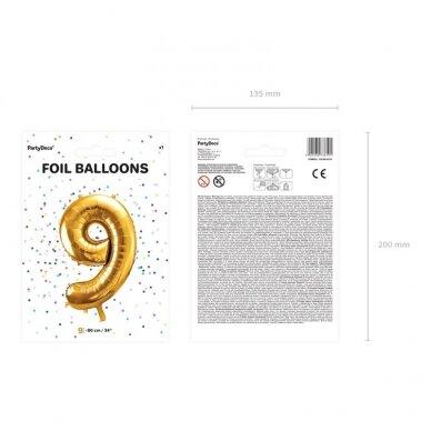 "Folinis balionas  ""9"" auksinis, 86 cm 2"