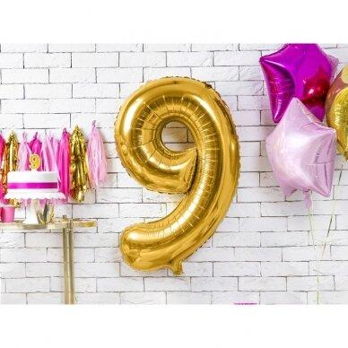 "Folinis balionas  ""9"" auksinis, 86 cm 3"