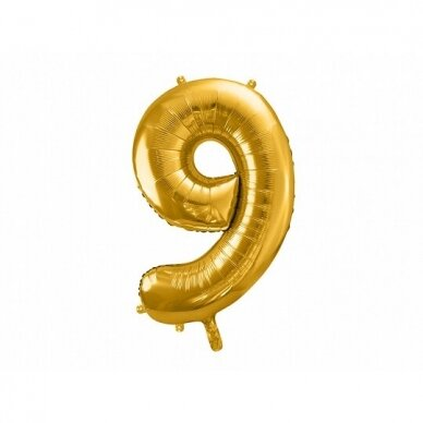 "Folinis balionas  ""9"" auksinis, 86 cm"