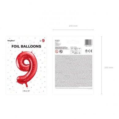 """Folinis balionas """"9"""" raudonas, 86 cm 3"""