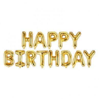 """Foliniai balionai  """"HAPPY BIRTHDAY"""" auksiniai, 35cm"""