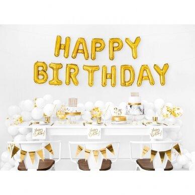 """Foliniai balionai  """"HAPPY BIRTHDAY"""" auksiniai, 35cm 2"""