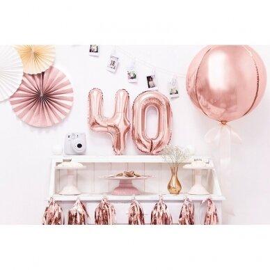 """Folinis balionas  """"4"""" rožinio aukso, 35 cm 3"""