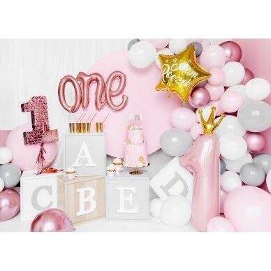 """Folinis balionas """"One"""" rožinio aukso 3"""