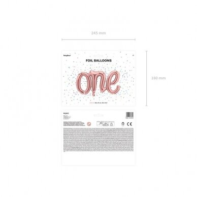 """Folinis balionas """"One"""" rožinio aukso 4"""
