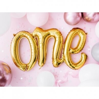 "Folinis balionas ""One"" auksinis 2"