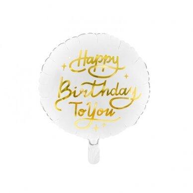 "Folinis balionas ""Happy birthday"" baltas 35 cm"