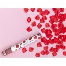 """Konfeti patranka """"Rožės žiedlapiai"""" 40cm  - raudoni"""