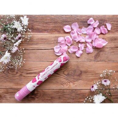 """Konfeti patranka """"Rožės žiedlapiai"""" 40cm  - rožiniai 2"""