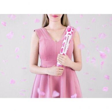 """Konfeti patranka """"Rožės žiedlapiai"""" 40cm  - rožiniai 4"""