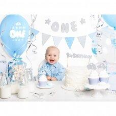 """Pirmojo gimtadienio dekoracijų rinkinys """"Melsvas"""""""