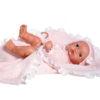 Lėlė kūdikėlis Gordi, rožiniais rūbeliais 28 cm