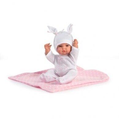 Lėlė kūdikėlis Gordi, baltais rūbeliais 28 cm