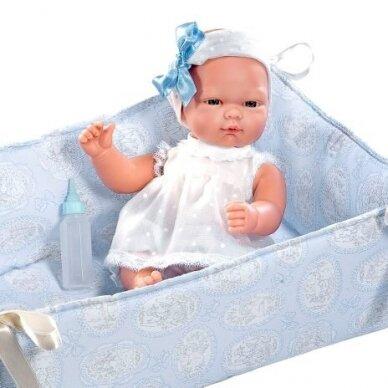 Lėlė kūdikėlis Oli su melsva lovyte 30 cm