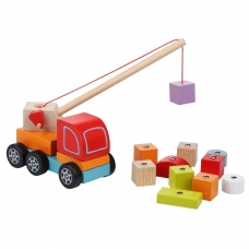 Medinė mašina - kranas su magnetiniais kroviniais
