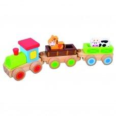 Medinis traukinukas su gyvūnais, 3+