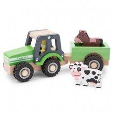 Medinis žalias traktoriukas su priekaba