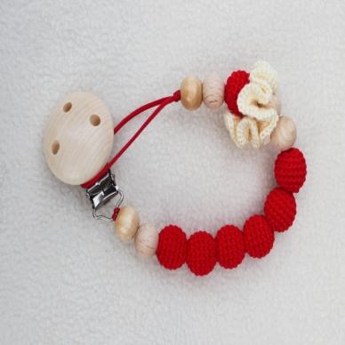 Medinis Čiulptuko Laikiklis Raudonas su Geltona gėle 2