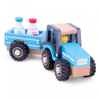 Medinis mėlynas traktoriukas su priekaba 3