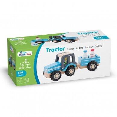 Medinis mėlynas traktoriukas su priekaba 2
