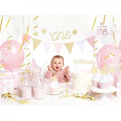 """Pirmojo gimtadienio dekoracijų rinkinys """"Rausvas"""""""