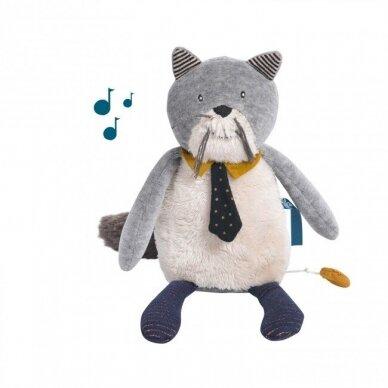 """Pliušinis muzikinis žaislas """"Pilkas draugiškas katinas"""""""