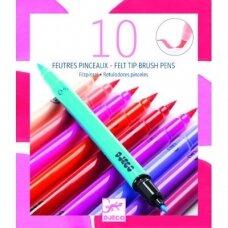 Rausvų spalvų dvipusiai flomasteriai 10 vnt