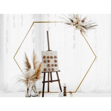 Šešiakampis fono stovas, auksinis, 2m 2