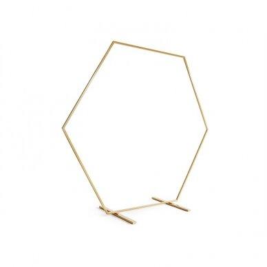 Šešiakampis fono stovas, auksinis, 2m