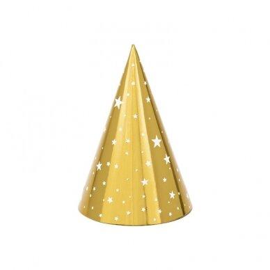 """Šventinės kepurėlės """"Auksinės"""" 6vnt"""
