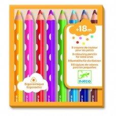 Spalvoti ergonomiški pieštukai , 8 spalvos