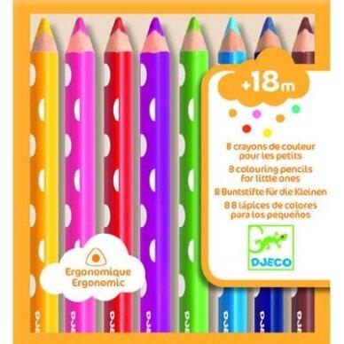 Spalvoti ergonomiški pieštukai , 8 spalvos 2